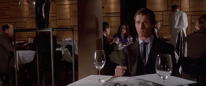 Bateman having dinner at Barcadia.