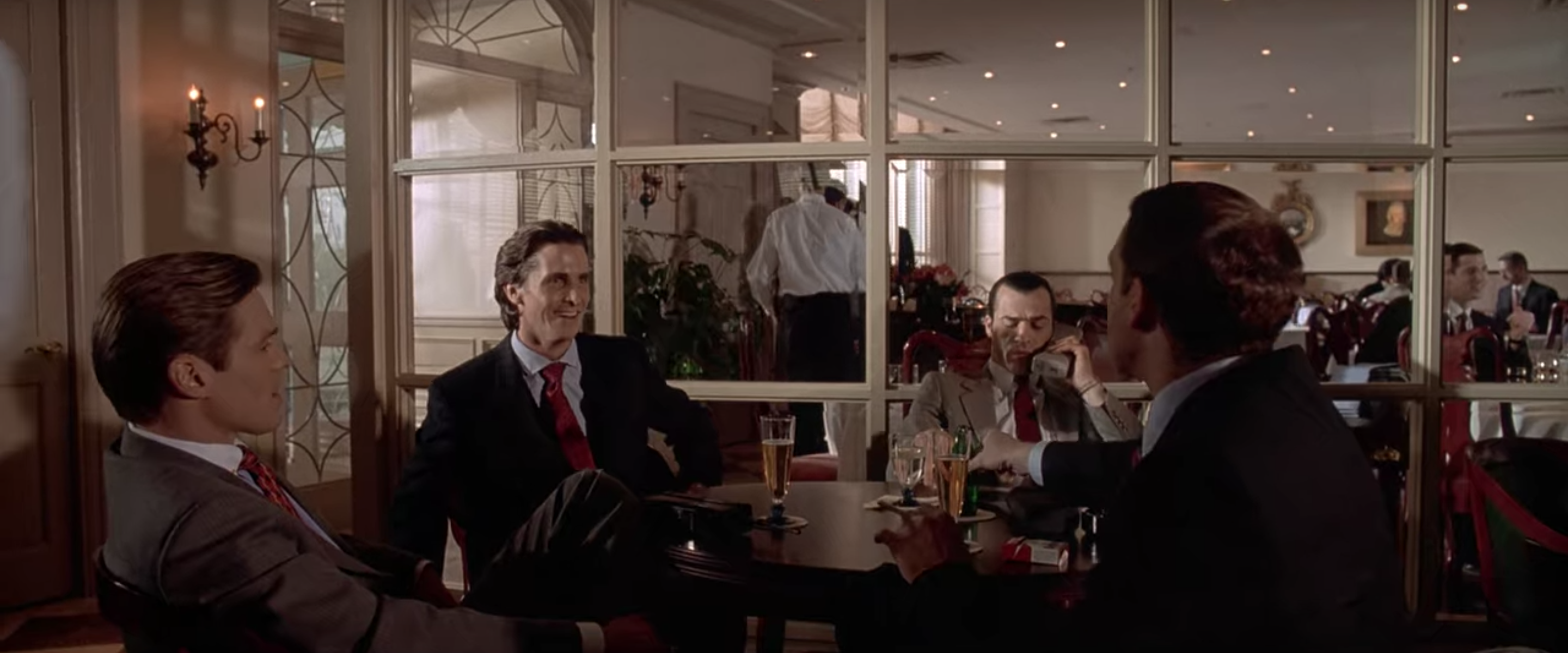 Bateman attends Harry's Bar after confessing to all his murders.